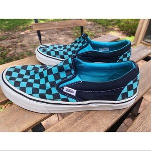 🌊 Aqua Blue Checkerboard Slip-On Vans 🌊